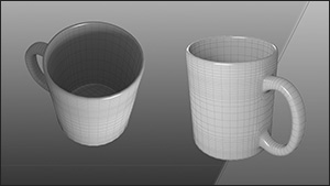 3d model artist cups wireframe