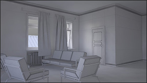 3d interior appartment - Wireframes